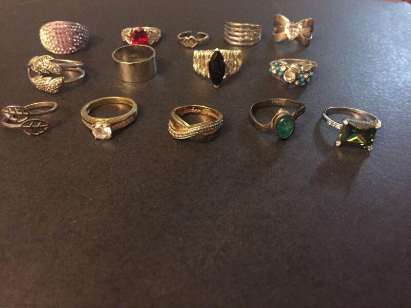 Vintage Sterling Silver LOT OF Nice 14 Rings