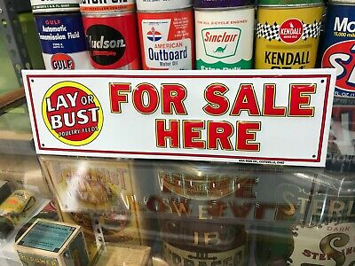 """VINTAGE """"LAY OR BUST POULTRY FEEDS FOR SALE"""" EMBOSSED METAL SIGN (13""""x 4"""") MINT"""