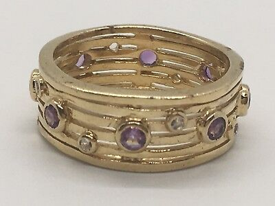 Very Nice Orchid Gold over Sterling Silver Ring in a Size 10