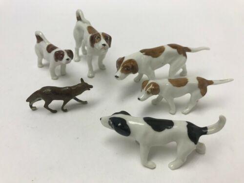 Set of 6 Erphila Germany Hunting Dog Set Figurines Foxhounds Fox RARE