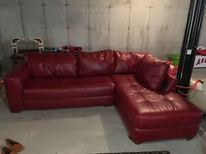 Red leather couch