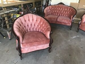French provincial couch, love seat and chair