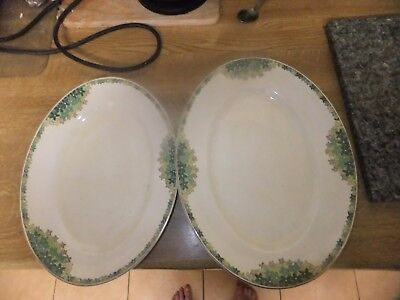 PAIR OF WILKINSON DECO OVAL PLATTERS VERY DECORATIVE