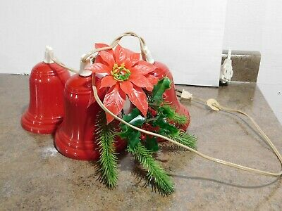 VTG Christmas Poinsettia & Berries Plastic Blow Mold Bells Cluster Light String