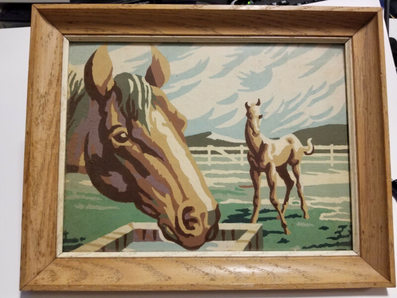 "Paint by numbers painting, vintage, horse, Original frame with glass 13.5"" x 11"""