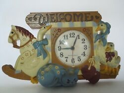 Vintage Quartz Wall Clock Burwood Products New Haven #2831 Welcome Made in USA