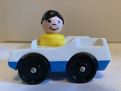 Vintage Fisher Price Little People Rare McDonalds Yellow Boy Black Hair Blue Car