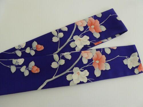 "Japanese Obi Sash Belt Vintage Silk Kimono Fabric Floral Royal Blue 63""L x 3""W"