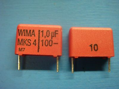 50 Wima Mks4 1.010010 1.0uf 100v 10 15mm Polyester Film Capacitor