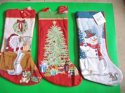 New 20  Long Christmas Needlepoint Stockings Santa Clause Christmas Tree Snowman