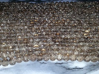 Wholesale 8MM Beige Crackle Glass Beads Round Spacer Loose Beads About 100pc.