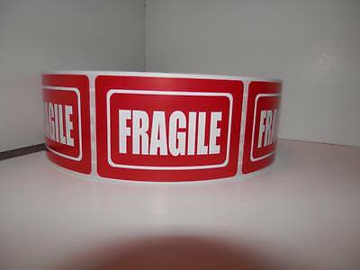 Fragile 2x3 White Text Red Background Warning Sticker Label 250rl
