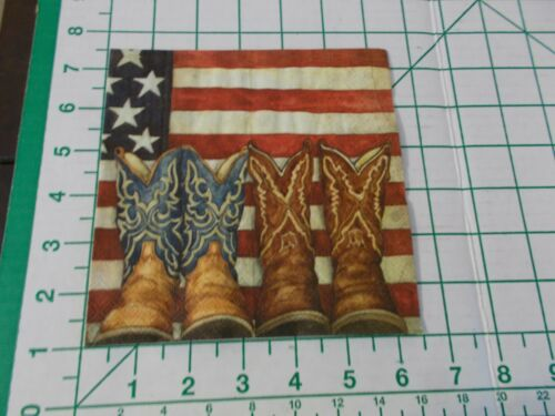 """Two Decorative Luncheon Napkins for Decoupage """"Old Glory"""" with cowboy boots"""