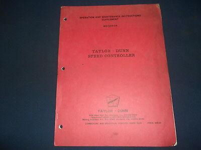 Taylor Dunn Speed Controller Operation Maintenance Manual Book M3-001-04