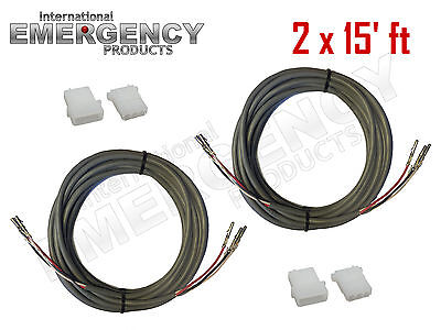 2x 15 Ft Strobe Cable 3 Conductor Wire Amp Power Supply W Connector For Whelen