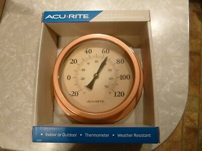 Indoor Outdoor Acu-Rite Copper Finish Metal Thermometer - Model 02321