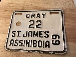 1969 DRAY 22 St James License Bicycle Plate