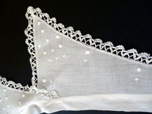 Antique Vintage Edwardian ORGANDY COLLAR Lace trim Embroidered Swiss Dots EUC