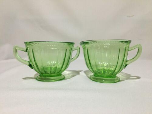 Vintage Green Glass Sugar Bowl and Creamer Set