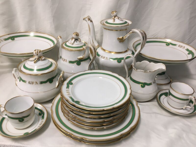 22 Pieces Old Paris Porcelain Empire Green Ribbon TEA/DESSERT SERVICE - Monogram