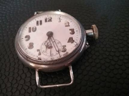 ANTIQUE SILVER TRENCH WATCH. CIRCA 1917? FOR REPAIR.