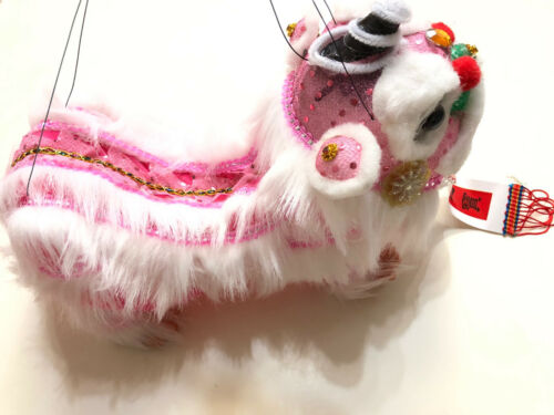 CHINESE NEW YEAR PINK PUPPET LION DRAGON HEAD DANCE HANGING TOY
