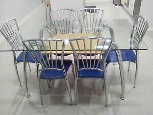 Glass Dining Table + Six Chairs Condell Park Bankstown Area Preview