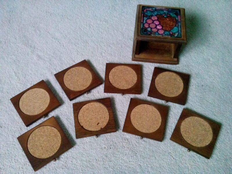 "Vintage 5 1/8"" x 4 7/8"" Foil Art Top Wooden Coaster Set With 8 Cork Coasters"