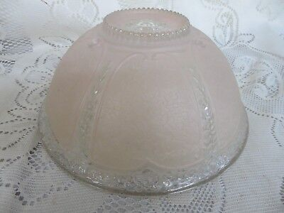 Vintage Glass Lamp Light Shade Clear Frosted Pink Textured 3 Hole