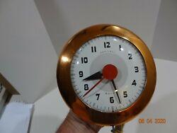 Vintage Ingraham Sentinel Wafer Copper Kitchen Wall Clock Mid Century Red Works