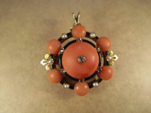 Stunning French Victorian 18k Gold & Coral/Diamond Brooch Pendant, 14.7g