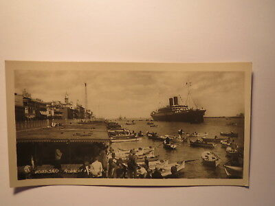 PORT SAID ARRIVAL OF A STEAMER SCHIFF GYPTEN FOTO KARTE