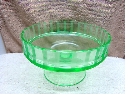 Green vaseline glass footed etched compote/ candy dish.