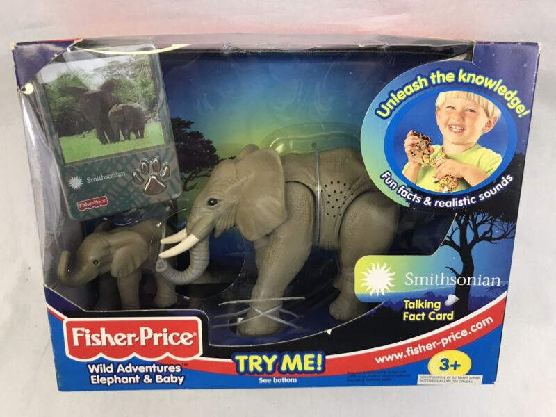 Fisher Price Wild Adventures Elephant + Baby Smithsonian with Talking Fact Card