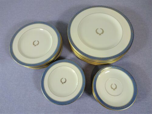 PICKARD JOSEPHINE BLUE, 8 PLACE SETTINGS, EXCEPT CUPS, EXCELLENT CONDITION