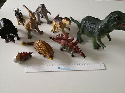 Konvolut Spielzeugtiere Saurier Dinosaurier Dino Urzeit 9 Stück, 10-30 cm groß