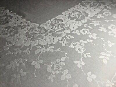 """Vintage Ivory ELEGANT ROSES PATTERN Damask Linen 72"""" x 105"""" Tablecloth, No Flaws"""