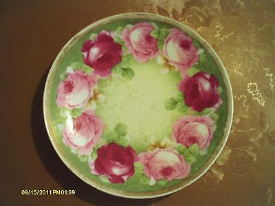 "Vintage O.A.E.G. Royal Austria Hand Painted Floral Pink Roses 7 1/2"" Plate"