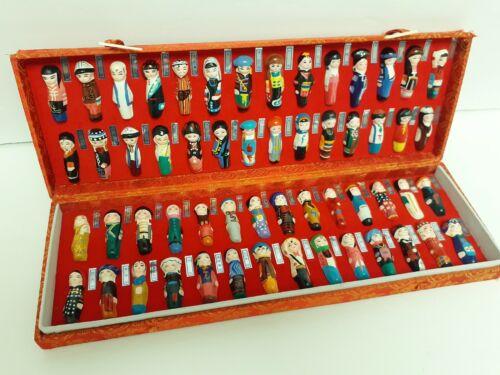 Vintage China Chinese Mini Figurine Statue Set 56 Ethnic Groups in Silk box