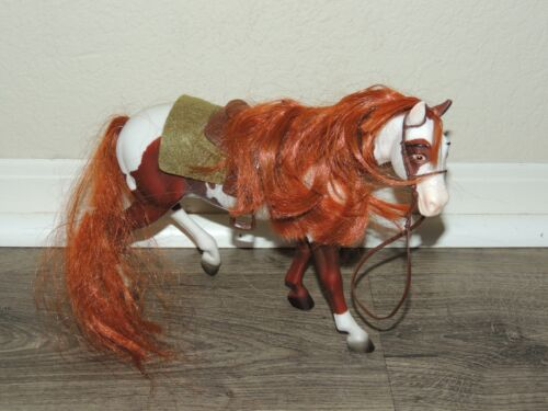 Breyer Reeves Paint Horse with Red Mane & Tail Hair w/ Saddle