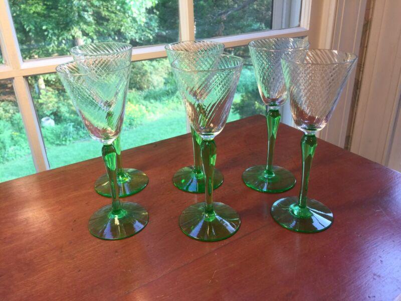 6 Tiffin  SPIRAL OPTIC GREEN  Stem Base Wine Glasses circa 1920