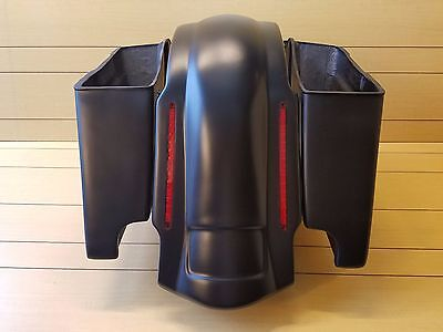 """4""""SADDLEBAGS DUAL CUT OUTS & REAR LED FENDER FOR HARLEY DAVINSON 1996-2013"""
