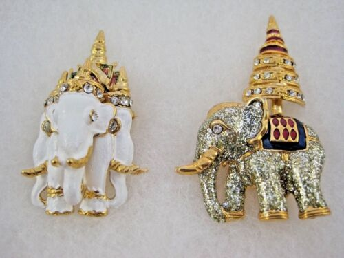 2 Vintage Rhinestone Glitter Enamel Elephant Crown Brooch Pins Collectable
