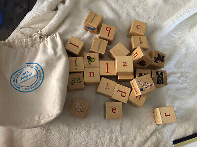 Pottery Barn Kids Baby Wooden non toxic Alphabet ABCs Blocks 25 Pieces eco Bag