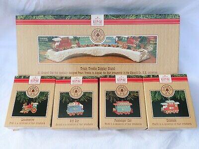 OW34 ~ Hallmark Keepsake Ornaments 1991 Train Cars & Track Set of 5