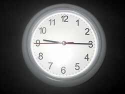 IKEA wall clock white clear battery operated modern home RUSCH NWOT