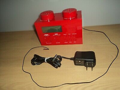 LEGO 2010 Red Brick Portable Alarm Clock AM FM Radio LG11000 Kids Room Easy Use