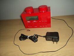 LEGO 2010 Red Brick Portable Alarm Clock AM FM Radio LG11000 Kids Room Easy Use