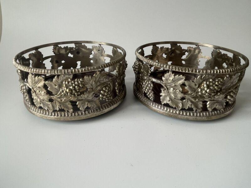 Vintage Pewter Silver Wine Coasters Velvet Bases