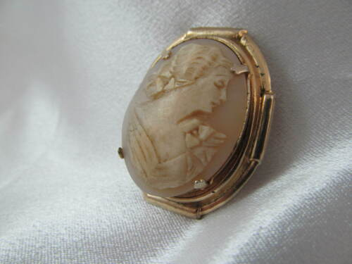 Vintage GOLD & CARVED SHELL CAMEO BROOCH PIN, Old, Unique  Good Condition